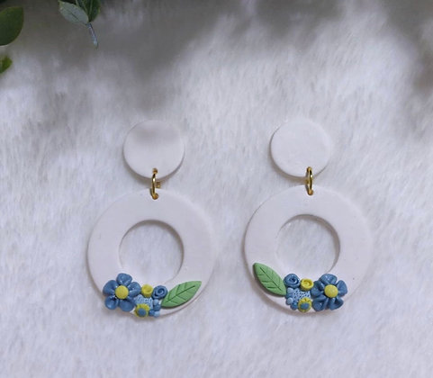 Above the Clouds Floral Dangling Hoops
