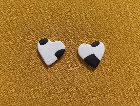Mini Cow Print Heart Studs
