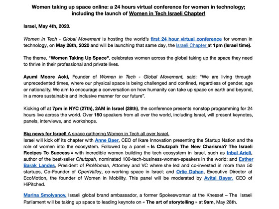 iKare will represent Israel at the Women In Tech world Summit.