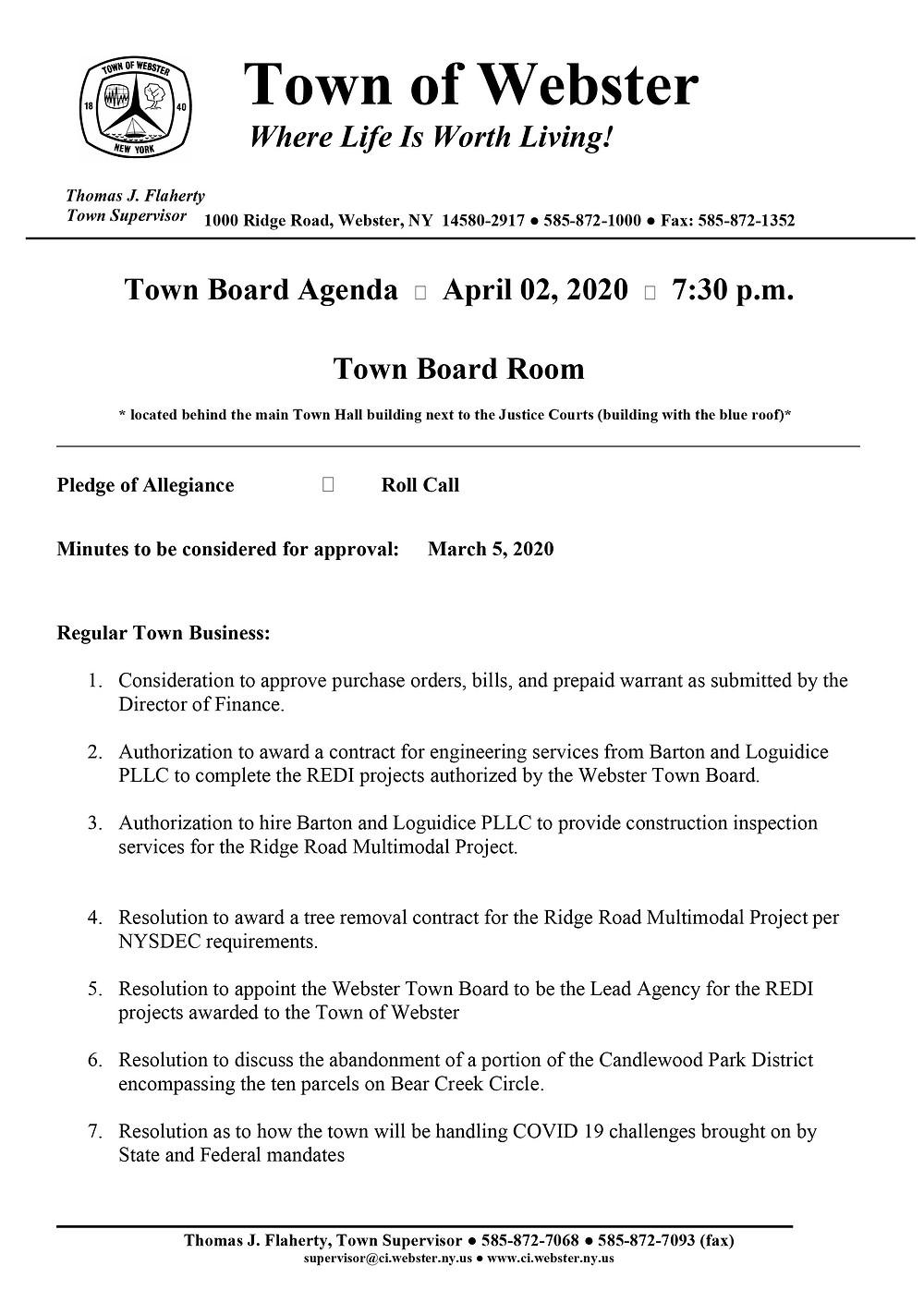 town-board-agenda