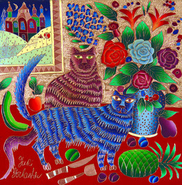 24x24 Two Cats on Red Table-web.jpg