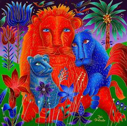 7000--Lion-family-yg1 - Copy 24x24 (2)-w