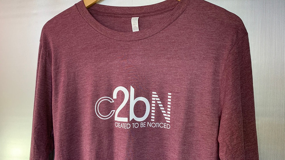 Created To Be Noticed (c2bn) - Long Sleeve T-shirt (Maroon)