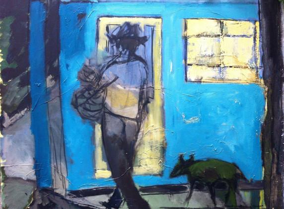 Marchand de chapeaux et son chien 80x100 Huile sur toile