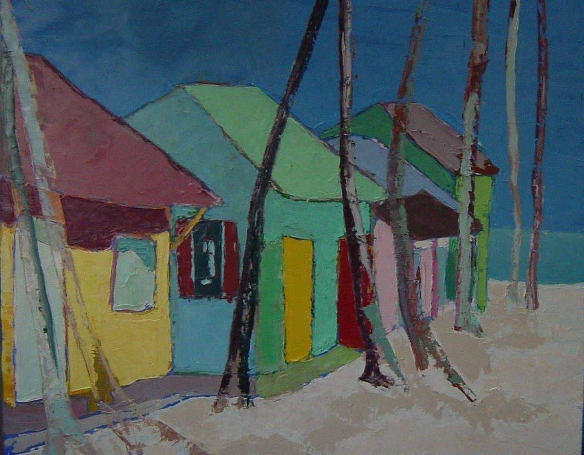 Cabanes à St Domingue 120x120 Huile sur toile