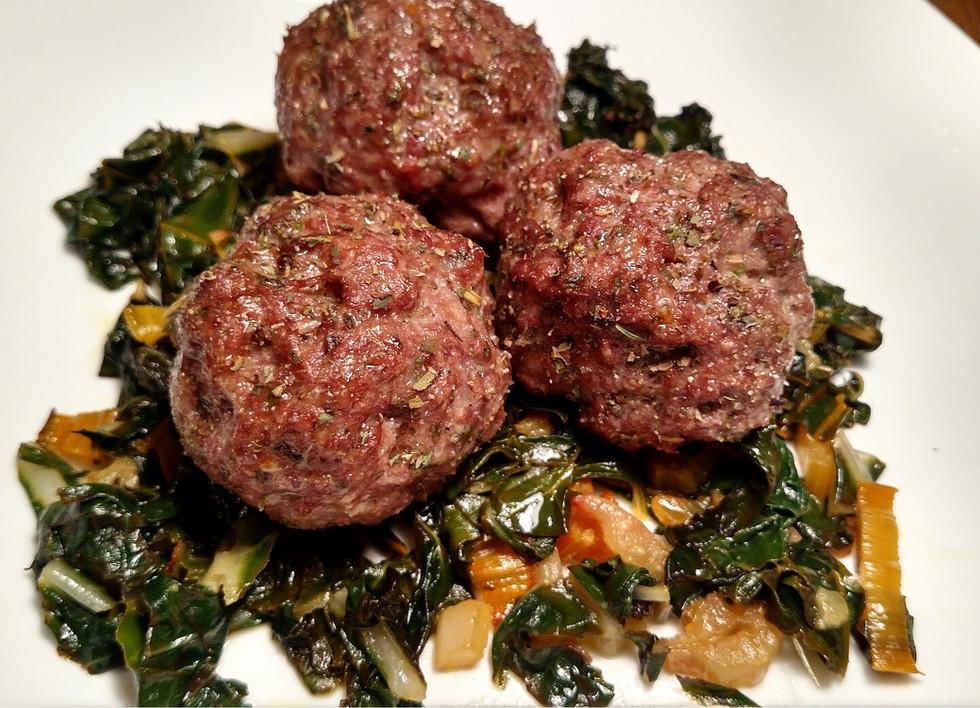Italian Meatballs with Lemony-Garlic Rainbow Chard - Paleo, AIP