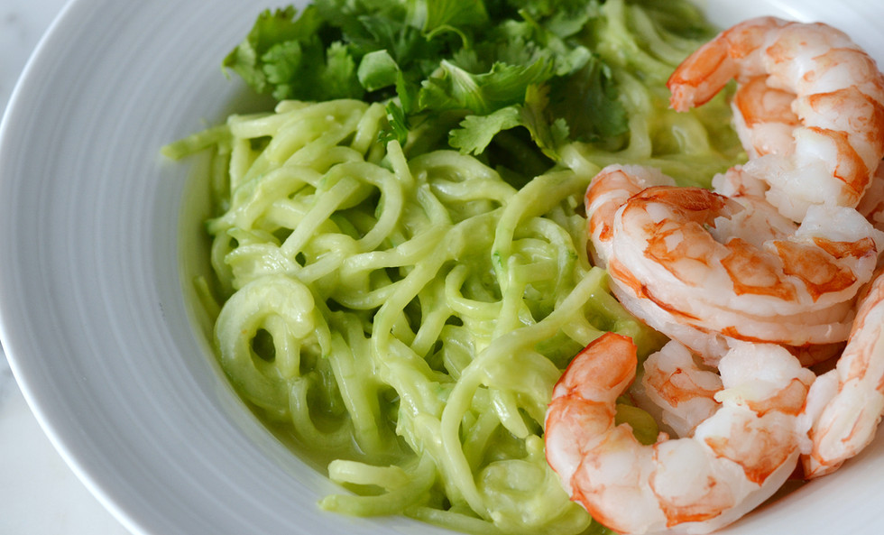 Creamy Cucumber Noodles with Shrimp - By Rebecca Boucher