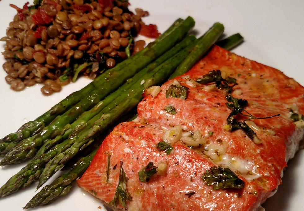 Marinated Salmon with Bacon-and-Herb Lentils and Roasted Asparagus