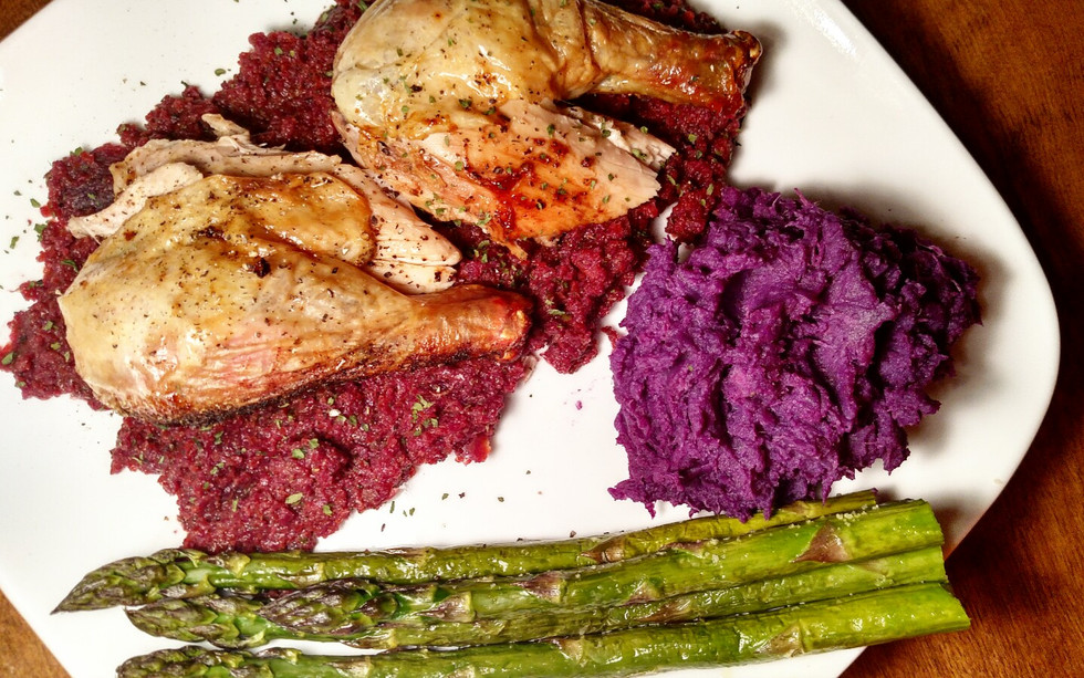 AIP Crispy Chicken with Nightshade-free Nomato Sauce, Sweet Potato Mash and Asparagus Spears
