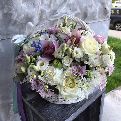 Розы|Орхидея|Город Цветов| Москва и Московская область|Корзина с цветами