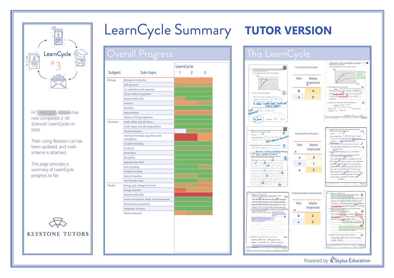 EXAMPLE Tutor Report - Science (Improvem