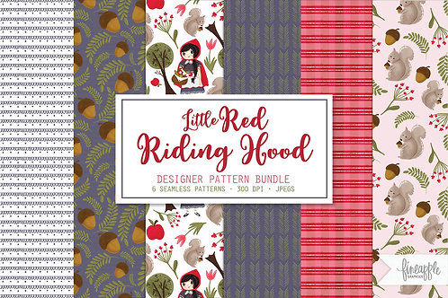 Pattern Collection Little Red Riding Hood Digital Papers Riding hood patterns Seamless Pattern Hand Drawn Pattern Digital Pat