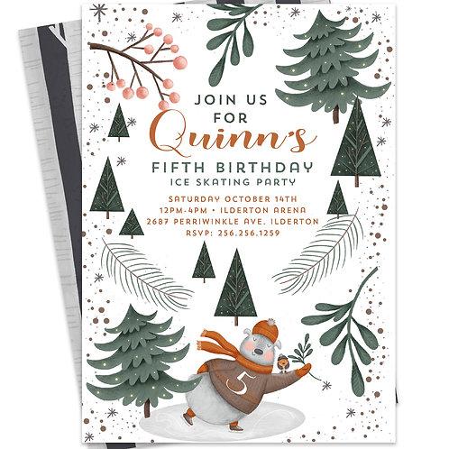 Woodland Invitations, Winter woodland Invites, Bear woodland Invites