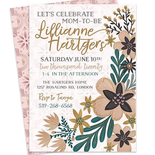 Boho Baby Shower Invite, Bohemian Invite, Boho Chic Invite, Boho Floral Invite