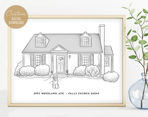 House Drawing with Pet