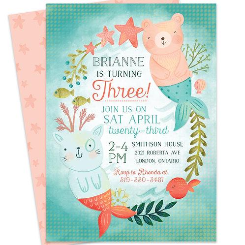 Mermaid First Birthday, Mermaid Invite, Little Mermaid Party, Under the Sea Invite, Cute Mermaid Invite, Mermaid Birthday