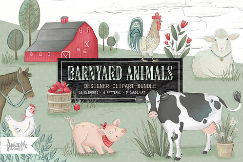 Farm Animals Clipart, Barnyard Animals Clipart, Farmhouse Animals, Farm Graphics, Cow Clipart, Cute Farm Clipart, Digital