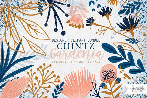 Chintz Clipart set, Floral Digital Paper, Flower Garden, hand drawn flowers, flowers Clipart, flowers seamless patterns, wedd