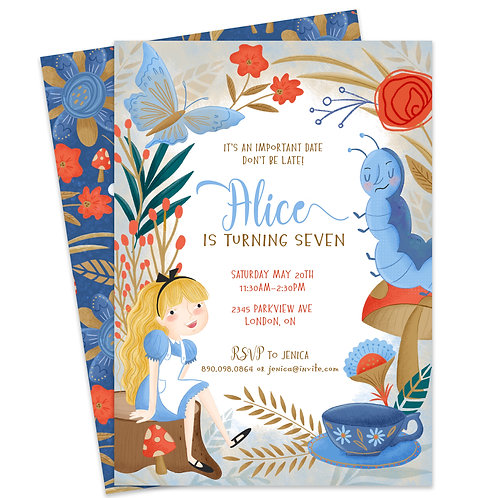Alice Adventure Invite, Wonderland Birthday Invite, Tea Party Invite, Tea Party Birthday, Digital Download Invite, Instant do