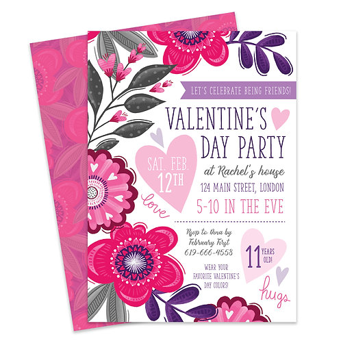 Valentines Day Party Birthday Invite Party Invite Girls Valentines Day Valentine's Day Invitation Valentine Floral Pink Valen