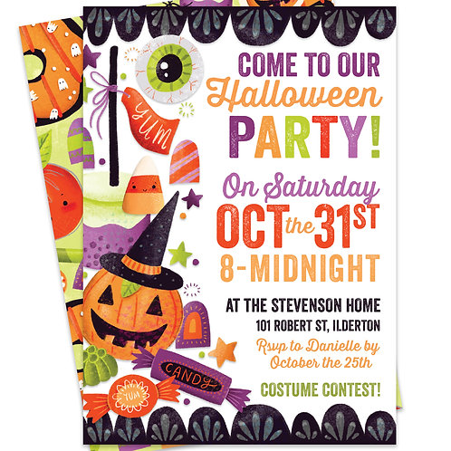 Kids Costume Party, Halloween Party Invites, Halloween Candy Invitation, Trick or Treat Party, Candy Corn Invite