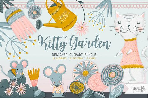 Cute cat Clipart Cat digital paper Cat graphic bundle Cat Clipart Design bundle Flower Clipart Garden party invite Cat illust