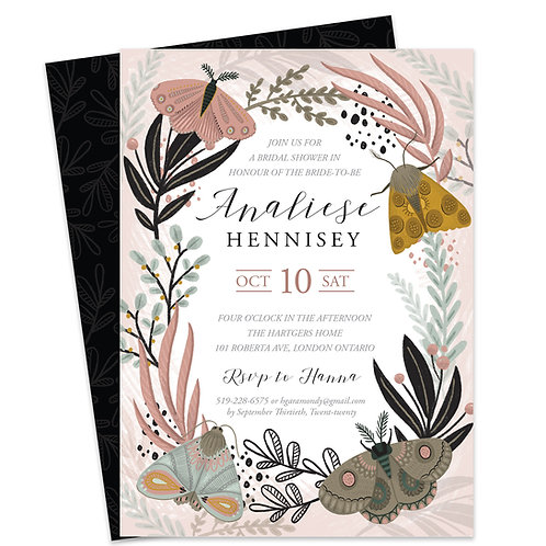 Garden Bridal Shower Invite, Butterfly Bridal Invite, Boho Bridal Shower Invites, Moth Invite