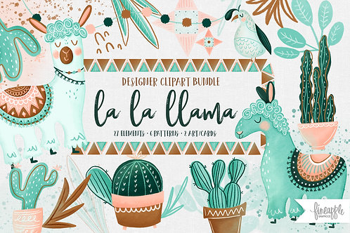 Cute Llama Clip art, Alpaca Clipart, Animal Clip art, Coral and Mint Llama Clipart, Llama Nursery Art, Cactus Clipart, Cacti