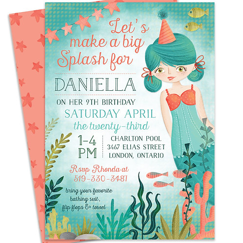 Mermaid Invite, Little Mermaid Party, Under the Sea Invite, Cute Mermaid Invite, Mermaid Birthday