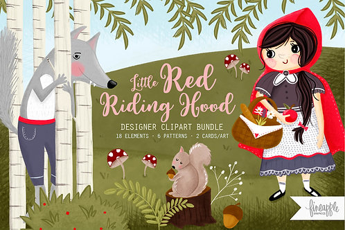 Little red Riding hood Riding hood Clip Art Woodland Storybook Graphics Storybook Clipart Storybook Patterns Seamless Pattern