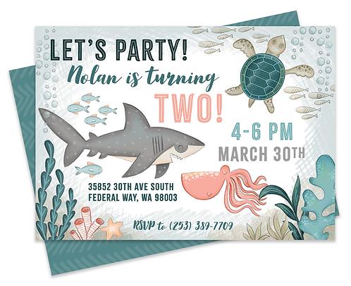Shark Birthday Invite, Baby Shark Birthday Invite, Ocean Birthday Party Invite, Fish Birthday Party, Ocean Creatures Party, U