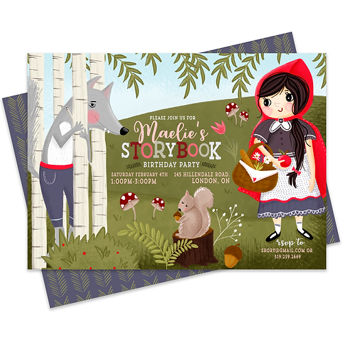 Little Red Riding hood Red Riding hood Birthday Invitation Storybook Invitation Storybook Birthday Party Invite Girl Birthday