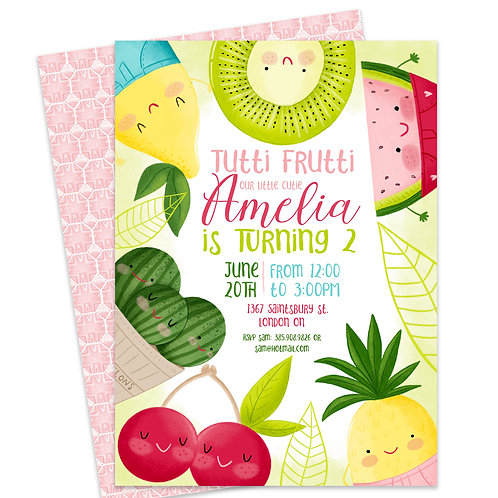 Twotti Fruitti Invite, Fruit Birthday Invite, Custom DIY, Digital Download, Summer Party Invite, Tropical invite, Pineapple I