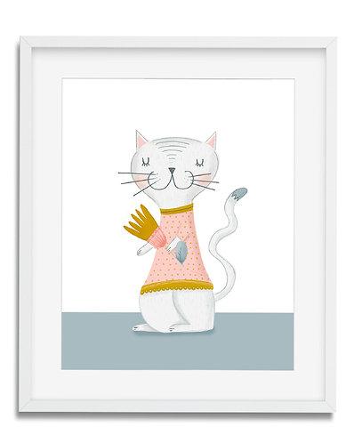 Cute Cat wall art, girls room wall art, girls room decor, cat, wall art, flowers, kitten, kitty Cat, whimsical cat, modern wa