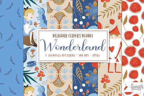 Alice Adventure Digital Paper, Storybook Digital Paper, Mad Hatter Clip art,Nursery Rhymes Clipart,Wonderland illustrations,A