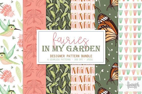 Fairy Digital Paper Fairy Patterns Seamless Patterns Digital Patterns Scrapbook Paper Fairy Enchanted Fairy Humming bird flor