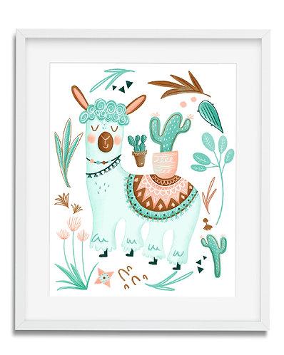cute llama wall art, cactus wall art, kids room decor, kids wall art, hand illustrated wall art, drama llama, nursery