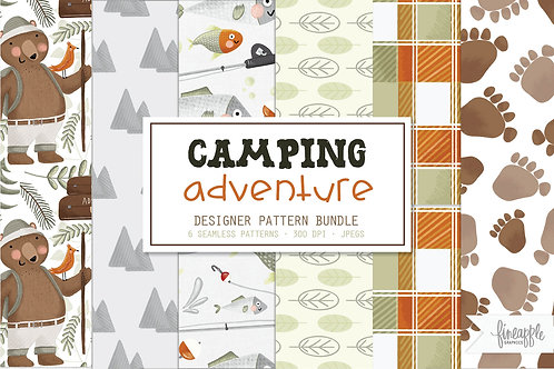 Camping Paper Pack Adventure Paper Woodland Digital Paper Woodland Adventure Seamless Patterns Camping Patterns Adventure Pat