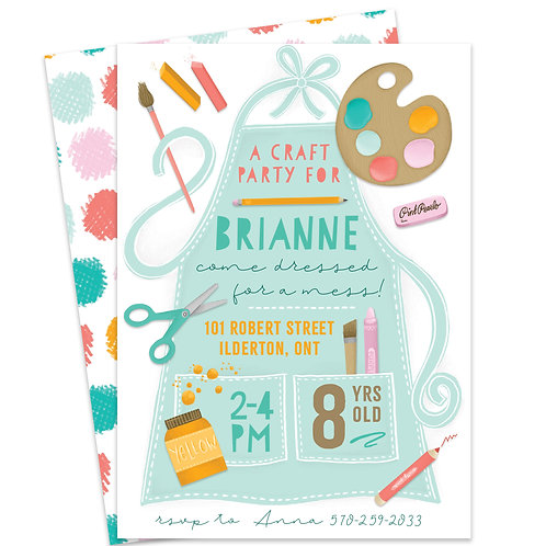 craft party invite, art party invite, craft birthday party invite, kids painting party