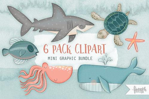 Under the Sea Clipart Sea Creatures Illustration Ocean Graphic Bundle Fish Clip Art Design Bundle Whale Shark Sea Turtle Fish