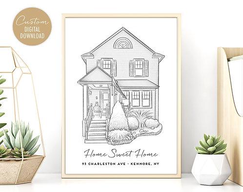 Custom House Illustration, Digital download, house drawing, Digital Download House Drawing, Printable Custom Home Drawing,