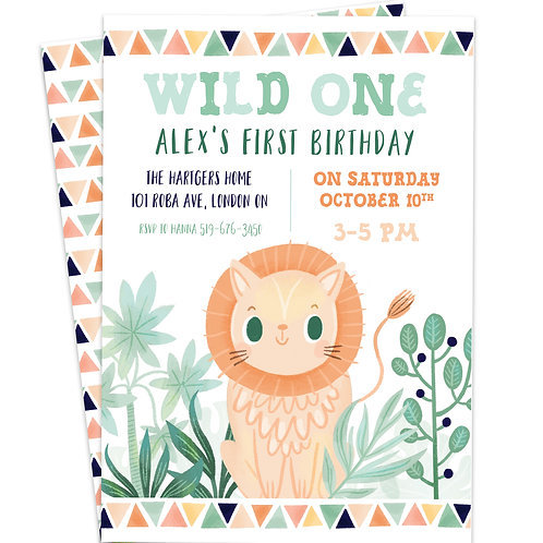 baby safari invite, safari invite, safari first birthday, wild one birthday invite