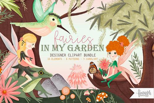Emchanted Fairy Fairy Clipart Fairy Fairy Illustration Fairy Graphic Bundle Fairy Clip art Design Bundle Garden Clip art Gard