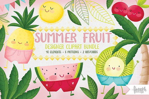 Cute fruit Clip art, Summer Clipart, Fruit Clip art, Fruit Digital Paper, Summer Digital paper, Citrus Clipart, Kids Digital