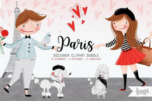 Paris Clipart Paris illustration Paris Graphic Bundle Paris Clip Art Design Bundle City of Love Valentines Day Valentine Grap