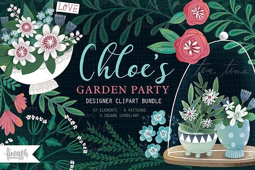 Tea Cup Clip Art, High Tea Graphics Bundle, Tea Party Seamless Pattern, Floral Tea Cups, Digital Download, Instant Download