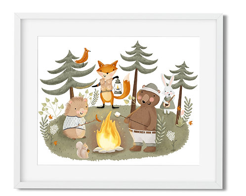 Woodland digital wall art, woodland animals wall art, camp wall art, fox, bear, boys room decor, whimsical kids room wall art