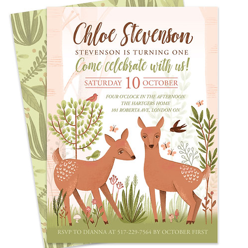 woodland invite, woodland animals party, deer first birthday, little deer baby shower