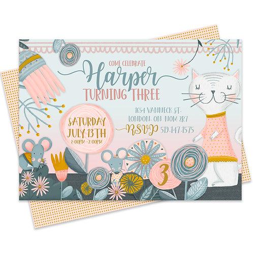 Floral Custom printable first birthday pawty Whimsical cat invite Cat birthday invite Pawty birthday Digital download Garden