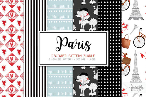 Paris French Poodle Paris Digital Paper Paris Patterns Seamless Patterns Hand Drawn Patterns Paris Digital Patterns Poodle Gi